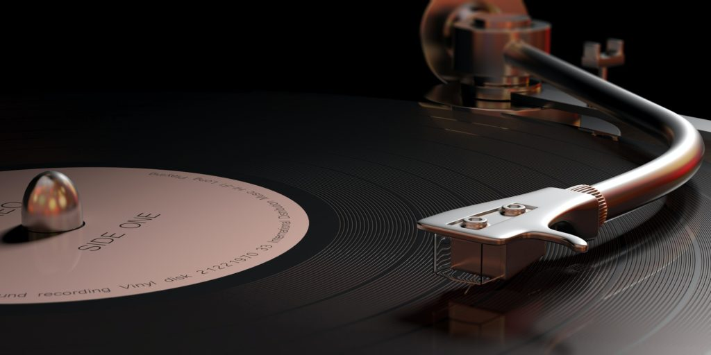 Vintage vinyl LP record player, closeup view with details. 3d illustration